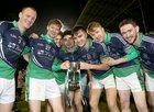 Oughterard v The Neale Connacht Intermediate Cup final at MacHale Park, Castlebar.<br /> Oughterard players PJ McGauley, Cian Harte, Joseph Clancy, Philip Gibbons, Eric Lee, Ciaran Hanley and Ronan Molloy celebrate with the Gene Byrne Memorial Cup.