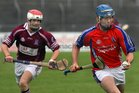Clarinbridge's, Barry Daly,<br />  and<br />  St. Thomas, Conor Cooney,<br />  during the Senior Hurling Championship at Athenry.<br />